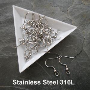 Afroháčky s pružinkou a kuličkou - chirurgická ocel 316L (Stainless Steel)
