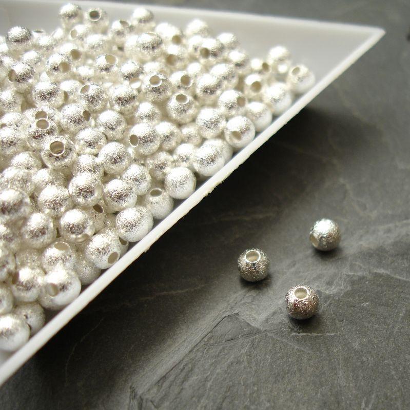 Kovové korálky 4mm - vroubkované - stříbrné