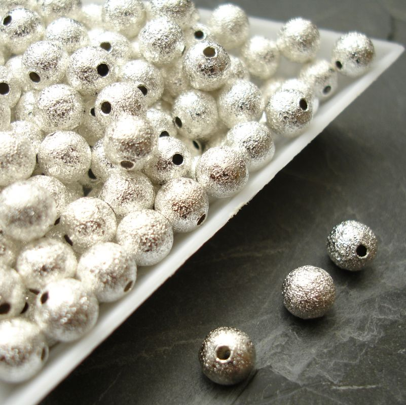 Kovové korálky 6mm - vroubkované - stříbrné