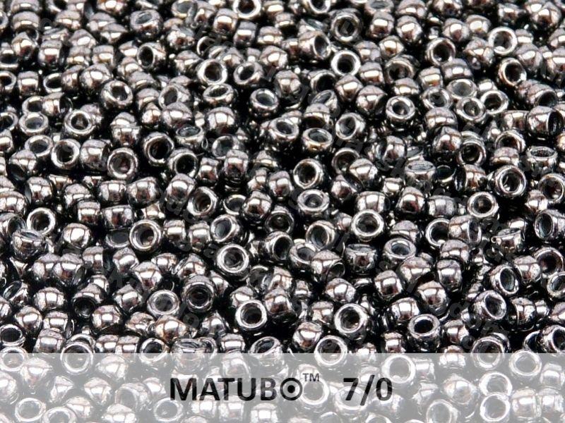 Mačkaný rokajl Matubo 7/0 - černý hematit - 5g
