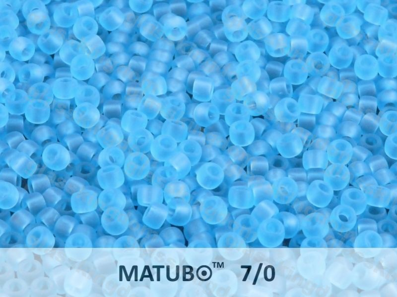 Mačkaný rokajl Matubo 7/0 - modrý aquamarín mat - 5g