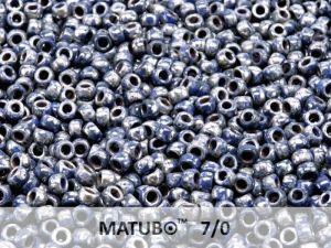 Mačkaný rokajl Matubo 7/0 - modrý picasso - 5g