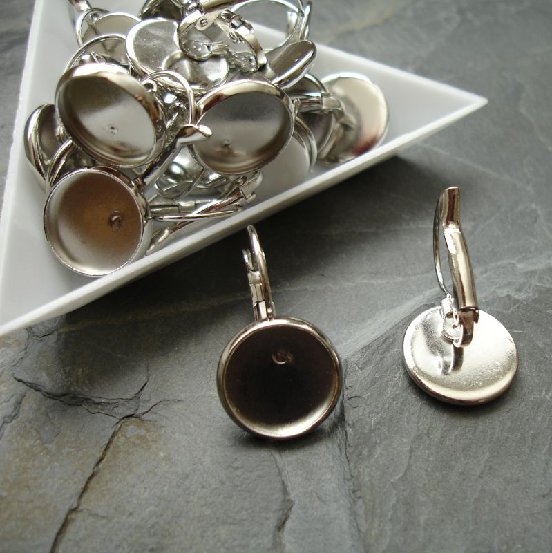 Náušnice s lůžkem 14 (12) mm - platinové