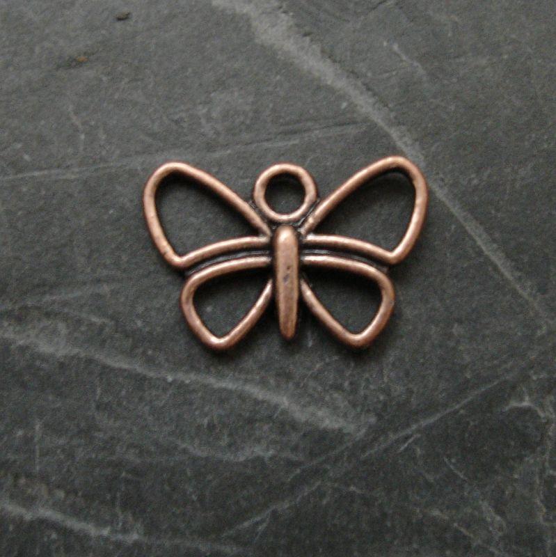 Přívěsek motýlek 17x12mm - staroměděný