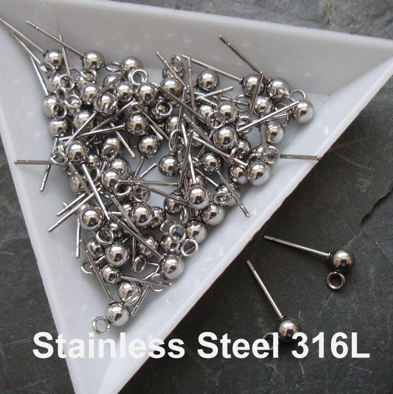 Puzety kuličky 4mm - chirurgická ocel 316L (Stainless Steel)