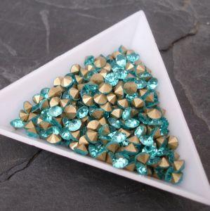 Skleněné šatony cca 4,2 - 4,4 mm - azurové