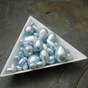 Skleněné voskované kapky - mix velikostí - modrošedé - 30g