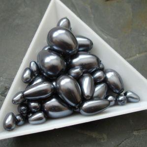 Skleněné voskované kapky - mix velikostí - tm. šeddé - 30g