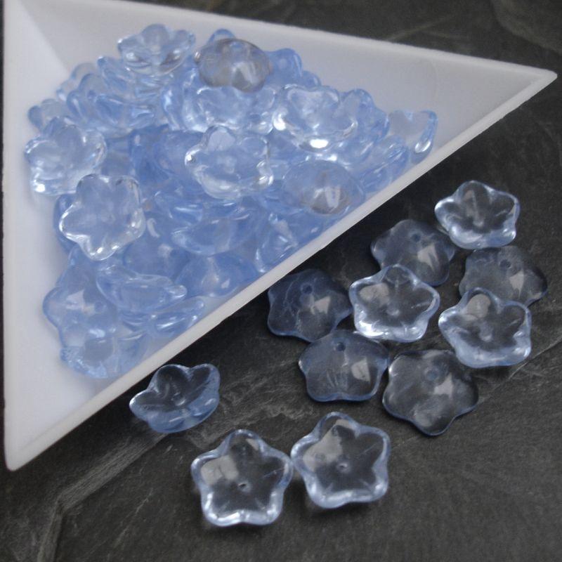 Mačkané korálky květinky cca 10mm - modré