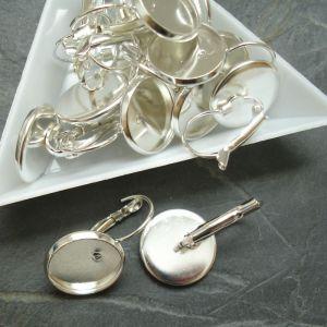 Náušnice s lůžkem 16 (14) mm - stříbrné