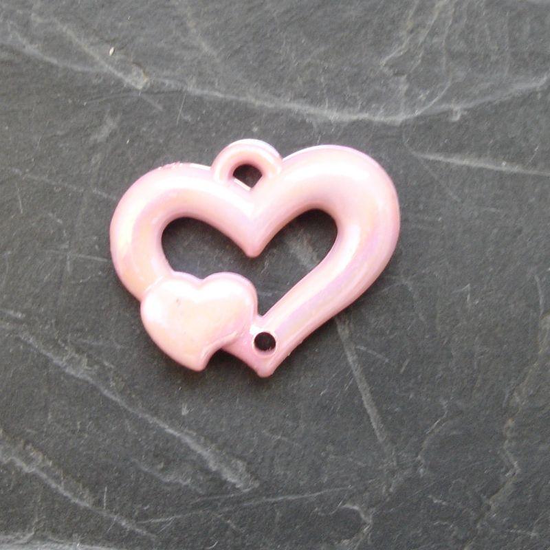 Plastový mezikus srdíčko 25x20mm - růžový