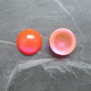 Kabošon kulatý 14mm - oranžovorůžový