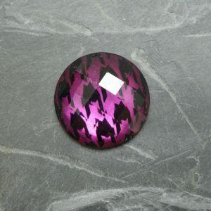 Plochý kulatý kabošon 25mm - fialový