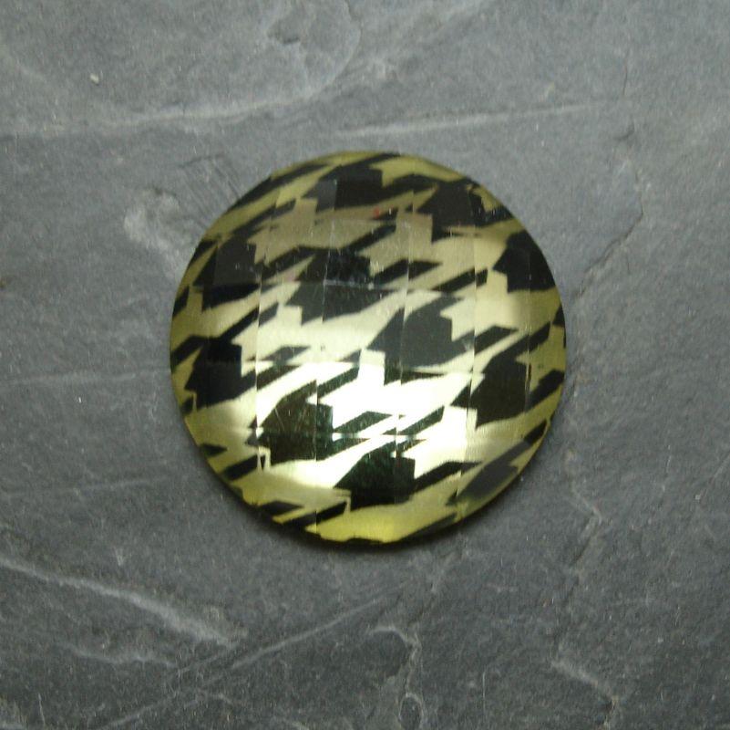 Plochý kulatý kabošon 25mm - sv. žlutý