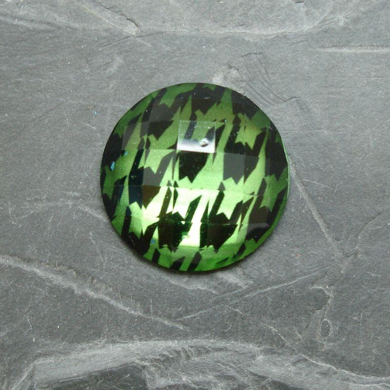 Plochý kulatý kabošon 25mm - zelený
