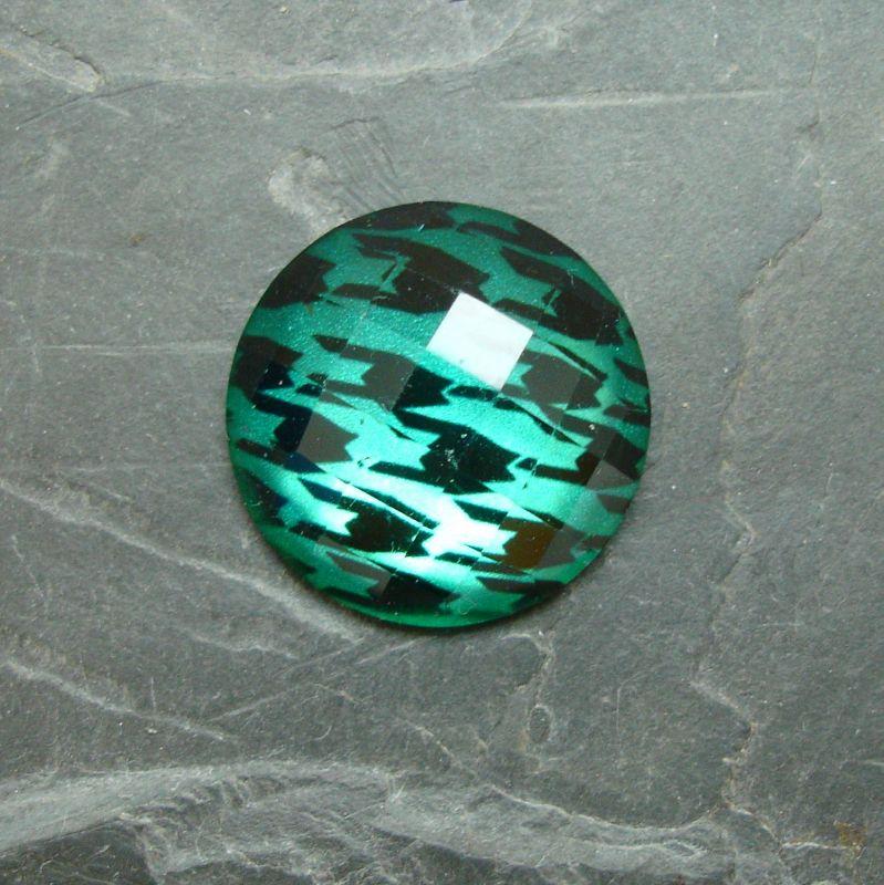 Plochý kulatý kabošon 25mm - zelený smaragdový