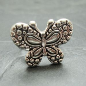 Prstýnek motýlek cca 12 x 22 mm - starostříbrný