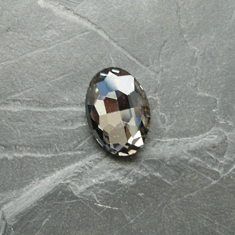 Skleněný broušený kamínek ovál 18 mm -černý kouřový