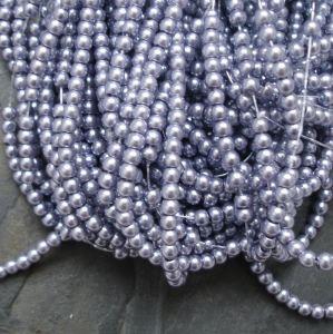 Skleněné voskované kuličky cca 3mm - šedomodré