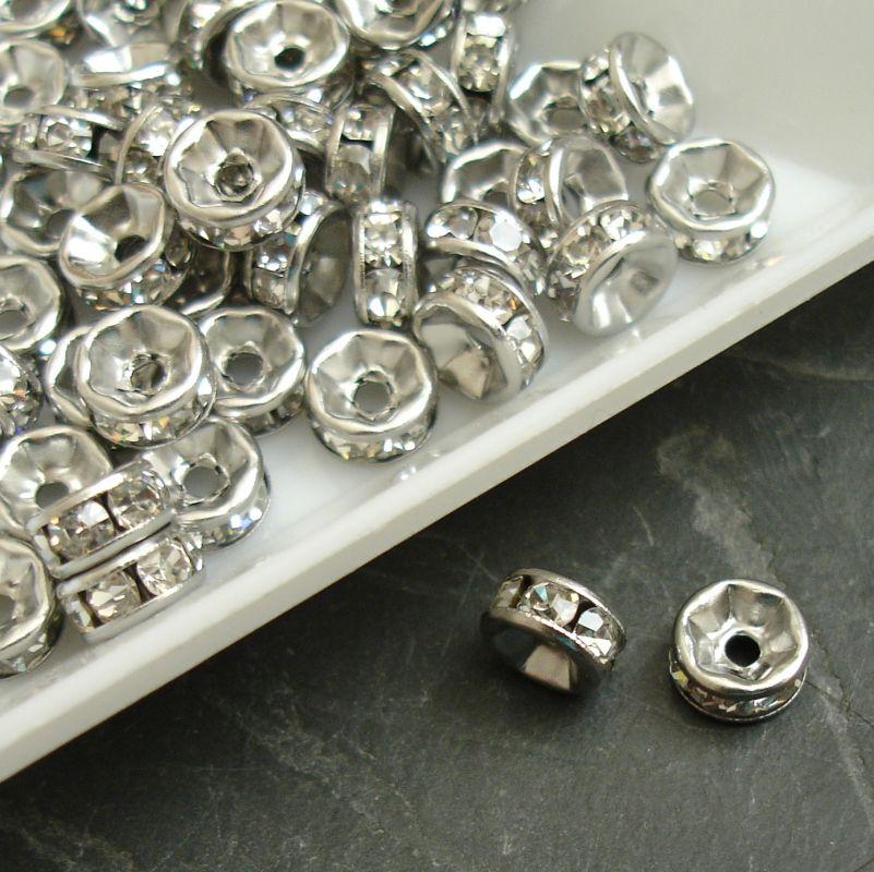 Rondelka 6mm - Stainless Steel - čiré kamínky