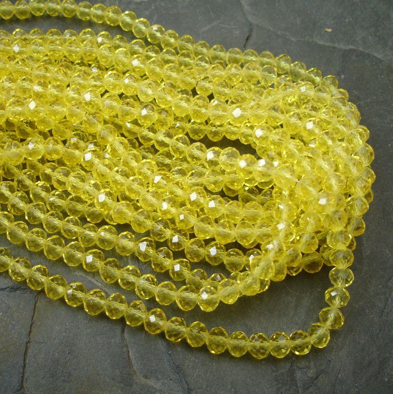 Broušené korálky cca 6x4mm - žluté