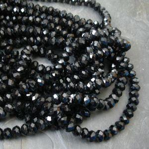 Broušené rondelky cca 8x6mm - černé