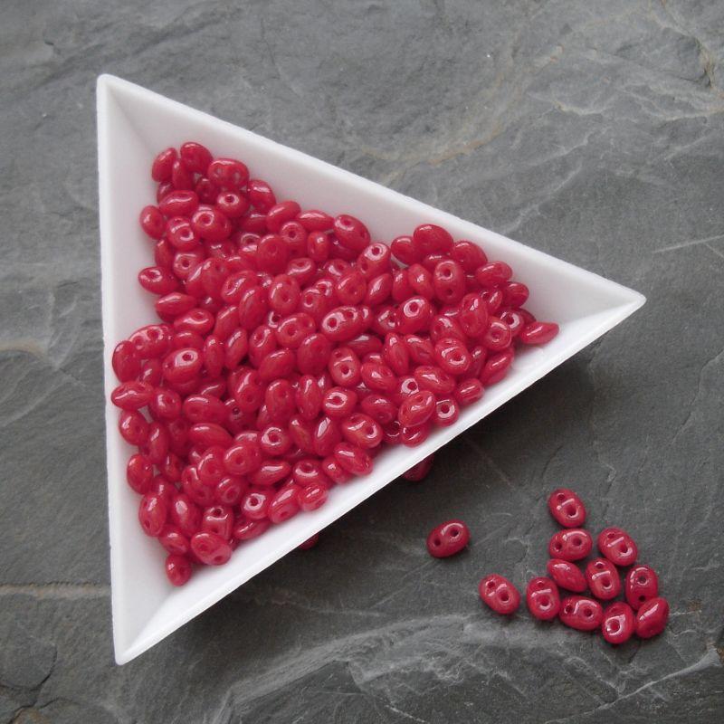 Dvoudírkové korálky Superduo - 91250 - červené