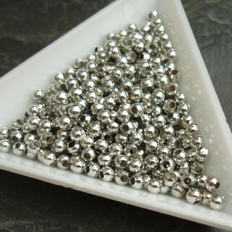 Kovový korálek 3mm - platinový