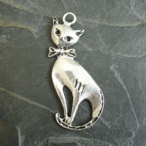 Přívěsek kočka 24x56 mm - starostříbrný