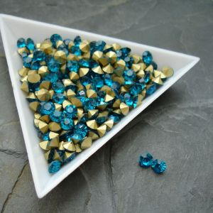 Skleněné šatony cca 4,2 - 4,4 mm - modrozelené