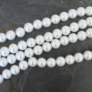 Skleněné voskované kuličky cca 14mm - bílé