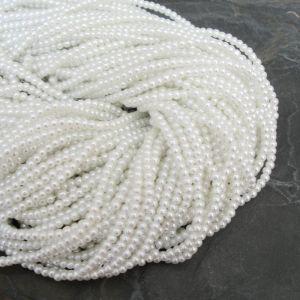 Skleněné voskované kuličky cca 3mm - bílé