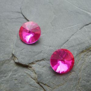Skleněný broušený kabošon 12 mm - růžový sytý