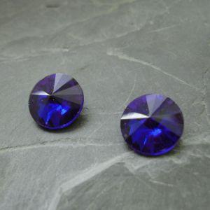 Skleněný broušený kamínek 12mm - modrý
