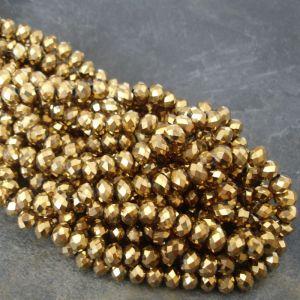 Broušené rondelky cca 6x4mm - zlaté