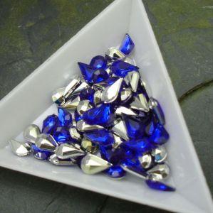 Kamínek akrylová kapka 5x8mm - modrá tm.