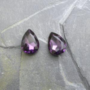 Skleněný broušený kamínek 10x14mm - fialový