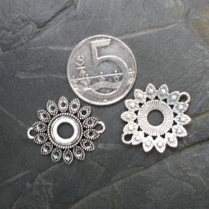 Konektor, mezikus květ 27x22mm - starostříbrný