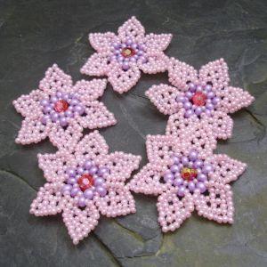 Šitá květinka cca 45mm - růžová s fialovým středem