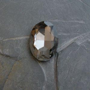 Skleněný broušený kabošon ovál 25 mm - černý kouřový