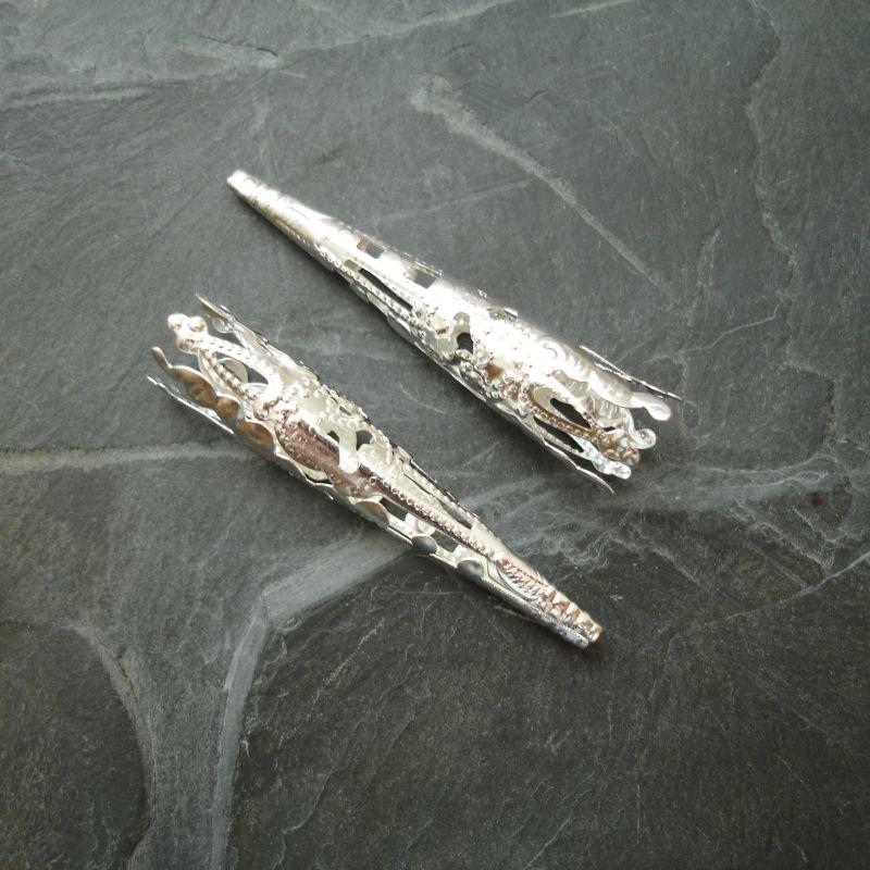 Dlouhý filigránový kaplík 41x8 mm - stříbrný - 6 ks