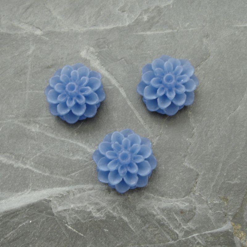 Kabošon chryzantéma 15mm - modrá - 2 ks