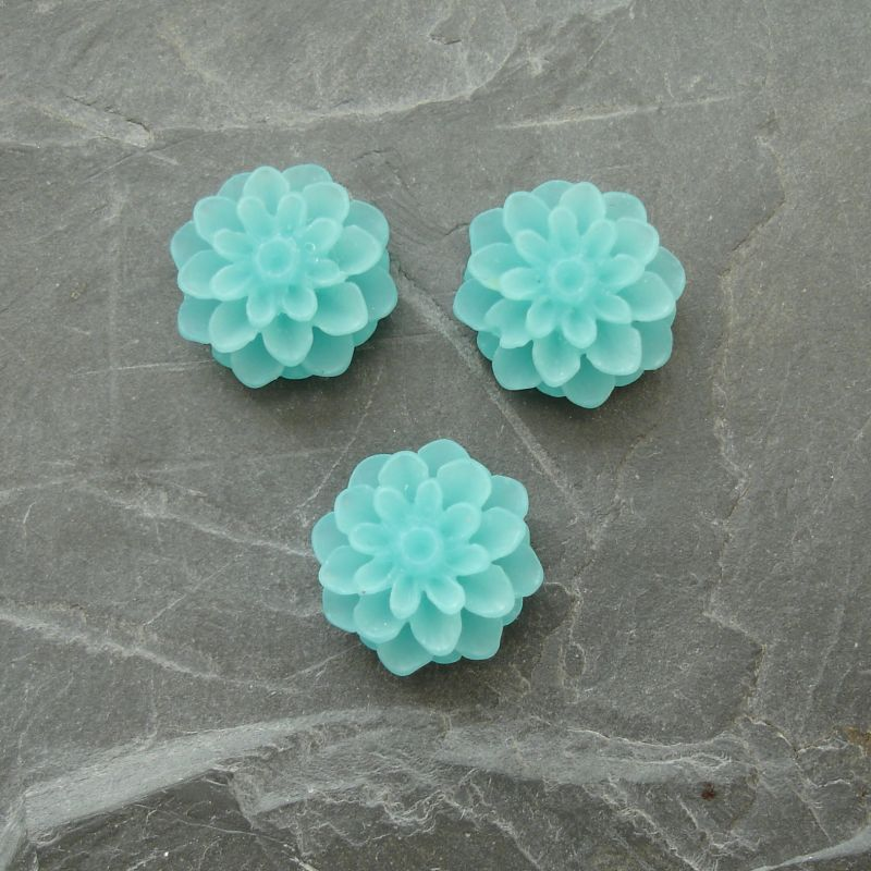 Kabošon chryzantéma 15mm - modrozelená - 2 ks