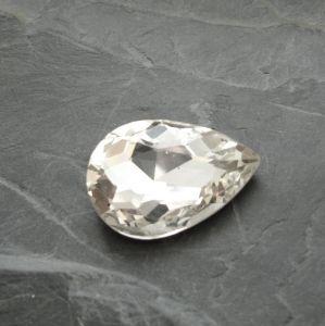 Skleněný broušený kamínek 29mm - čirý - 1 ks