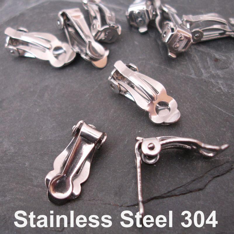 Náušnice klipsy 16x7x6mm - nerezová ocel 304 (Stainless Steel)
