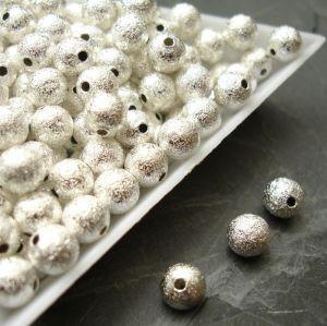 Kovové kuličky vroubkované 6mm - stříbrné