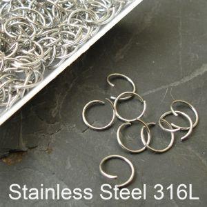 Spojovací kroužky 8mm - Stainless Steel 316L - 30 ks