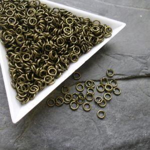 Kroužky spojovací - průměr 4mm - starobronzové - 100 ks