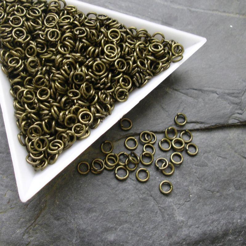 Kroužky spojovací - průměr 4mm - starobronzové