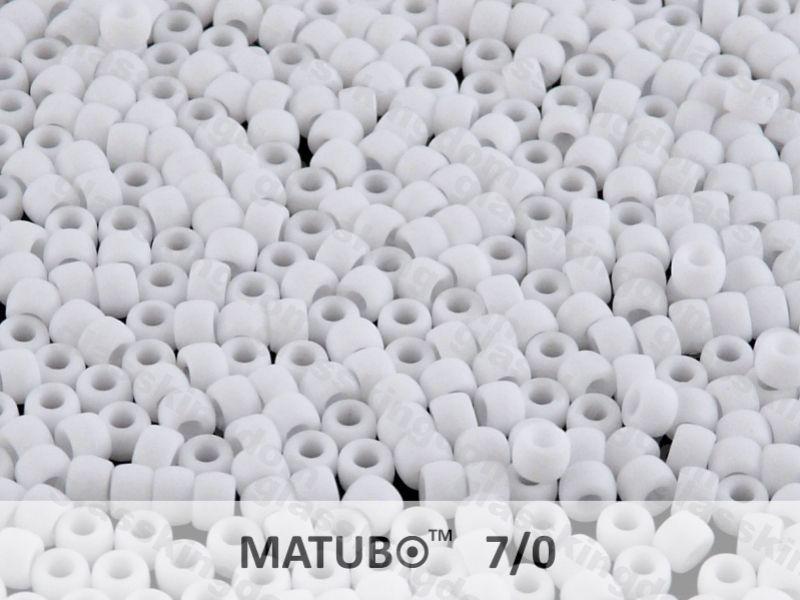 Mačkaný rokajl Matubo 7/0 - bílý mat - 5g